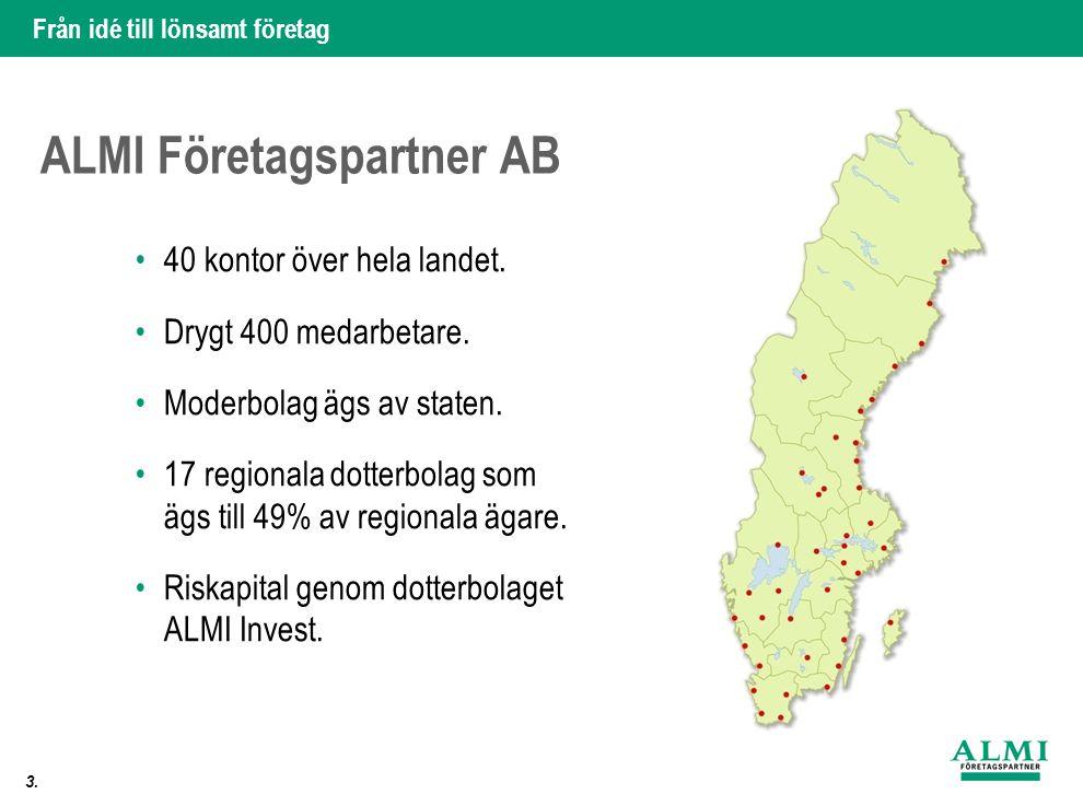 Från idé till lönsamt företag 3. ALMI Företagspartner AB •40 kontor över hela landet. •Drygt 400 medarbetare. •Moderbolag ägs av staten. •17 regionala