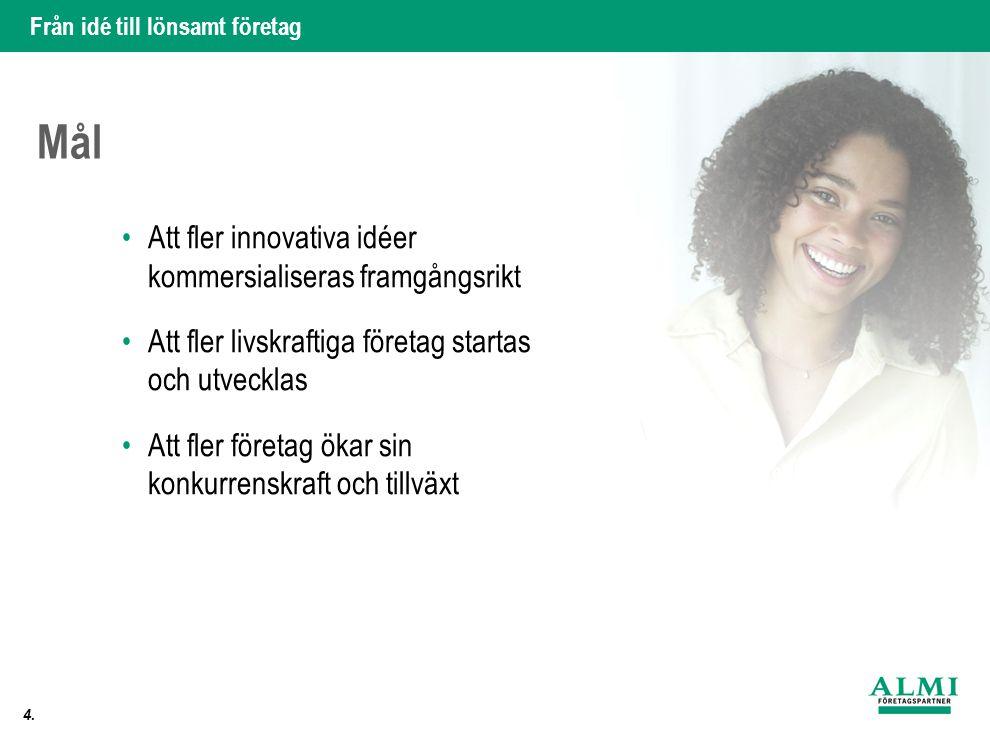 Från idé till lönsamt företag 4. Mål •Att fler innovativa idéer kommersialiseras framgångsrikt •Att fler livskraftiga företag startas och utvecklas •A