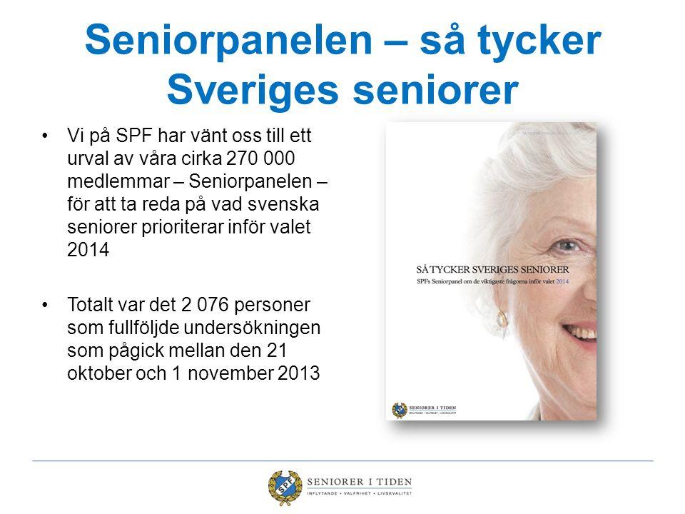 Seniorpanelen – så tycker Sveriges seniorer •Vi på SPF har vänt oss till ett urval av våra cirka 270 000 medlemmar – Seniorpanelen – för att ta reda p