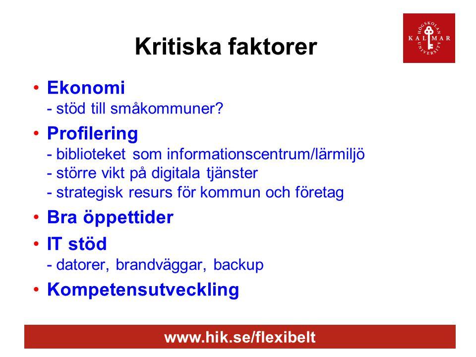 www.hik.se/flexibelt Kritiska faktorer •Ekonomi - stöd till småkommuner? •Profilering - biblioteket som informationscentrum/lärmiljö - större vikt på