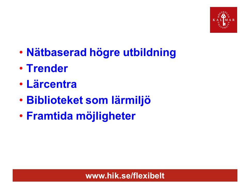 www.hik.se/flexibelt •Nätbaserad högre utbildning •Trender •Lärcentra •Biblioteket som lärmiljö •Framtida möjligheter