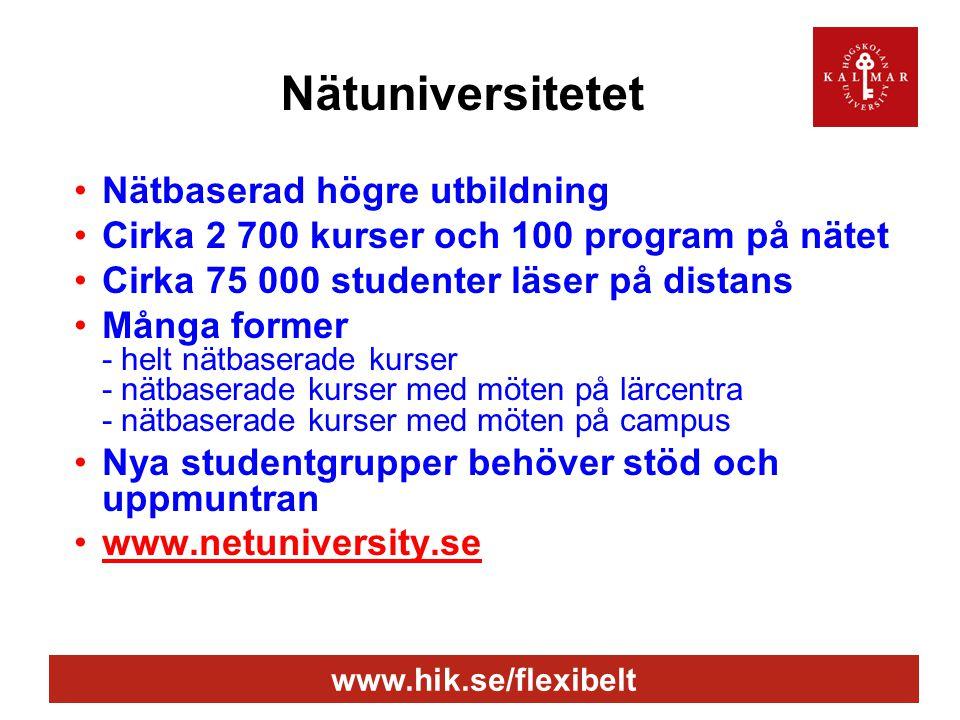 www.hik.se/flexibelt Nätuniversitetet •Nätbaserad högre utbildning •Cirka 2 700 kurser och 100 program på nätet •Cirka 75 000 studenter läser på distans •Många former - helt nätbaserade kurser - nätbaserade kurser med möten på lärcentra - nätbaserade kurser med möten på campus •Nya studentgrupper behöver stöd och uppmuntran •www.netuniversity.se
