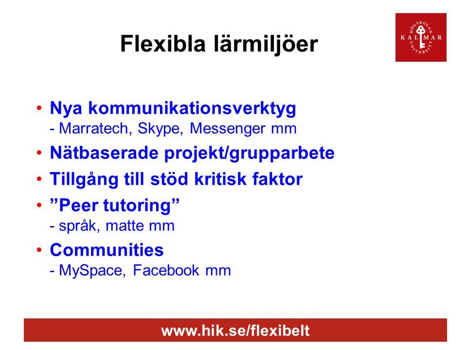 www.hik.se/flexibelt Flexibla lärmiljöer •Nya kommunikationsverktyg - Marratech, Skype, Messenger mm •Nätbaserade projekt/grupparbete •Tillgång till stöd kritisk faktor • Peer tutoring - språk, matte mm •Communities - MySpace, Facebook mm