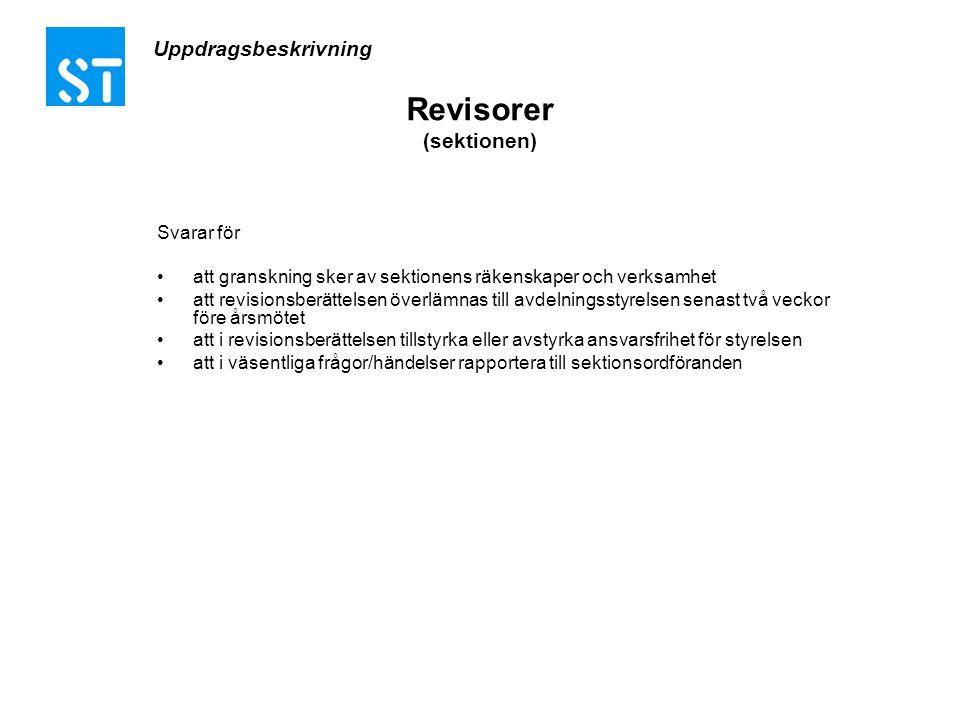 Uppdragsbeskrivning Revisorer (sektionen) Svarar för •att granskning sker av sektionens räkenskaper och verksamhet •att revisionsberättelsen överlämna