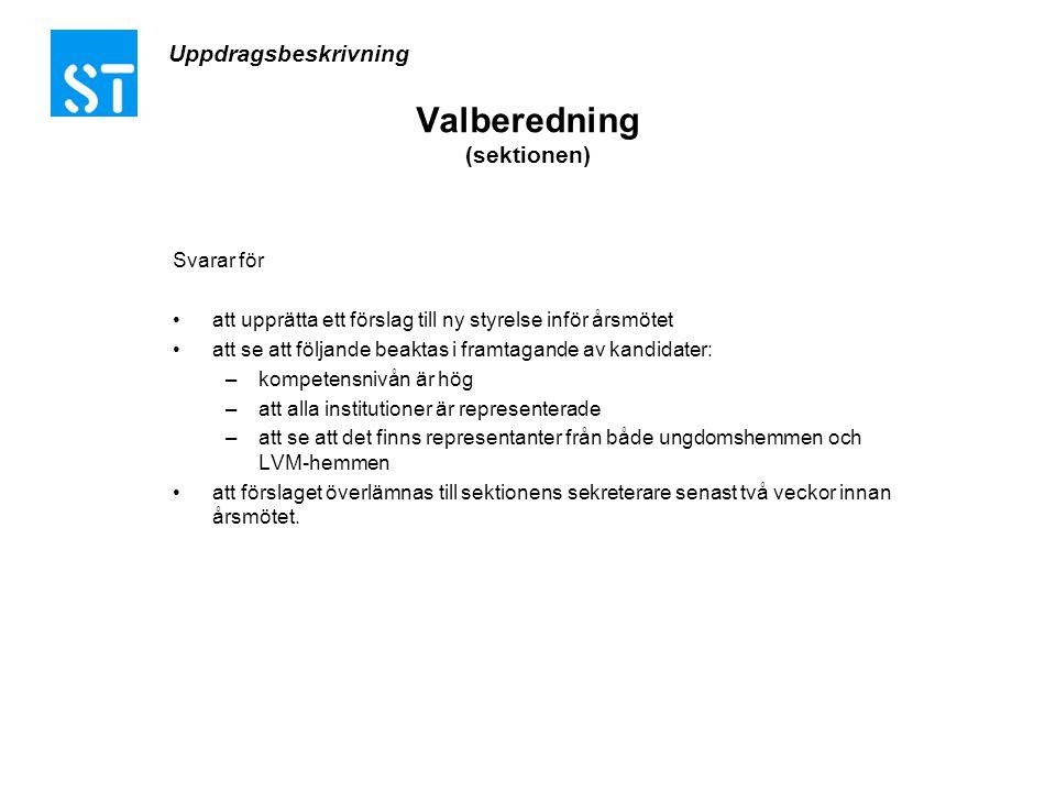 Uppdragsbeskrivning Valberedning (sektionen) Svarar för •att upprätta ett förslag till ny styrelse inför årsmötet •att se att följande beaktas i framt