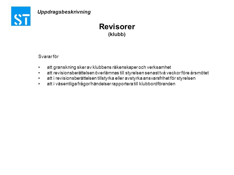 Uppdragsbeskrivning Revisorer (klubb) Svarar för •att granskning sker av klubbens räkenskaper och verksamhet •att revisionsberättelsen överlämnas till
