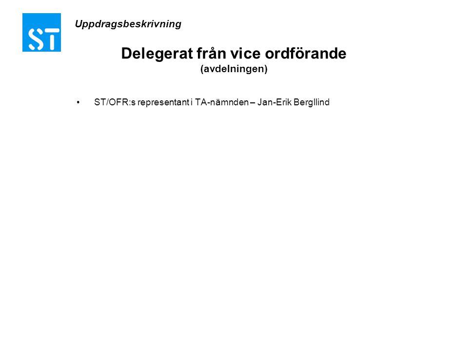 Delegerat från vice ordförande (avdelningen) •ST/OFR:s representant i TA-nämnden – Jan-Erik Bergllind Uppdragsbeskrivning