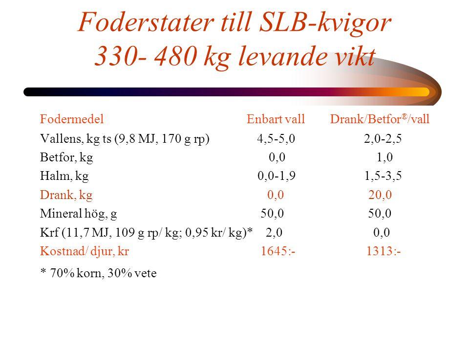Foderstater till SLB-kvigor 330- 480 kg levande vikt Fodermedel Enbart vall Drank/Betfor ® /vall Vallens, kg ts (9,8 MJ, 170 g rp) 4,5-5,0 2,0-2,5 Betfor, kg 0,0 1,0 Halm, kg 0,0-1,9 1,5-3,5 Drank, kg 0,0 20,0 Mineral hög, g 50,0 50,0 Krf (11,7 MJ, 109 g rp/ kg; 0,95 kr/ kg)* 2,0 0,0 Kostnad/ djur, kr 1645:- 1313:- * 70% korn, 30% vete