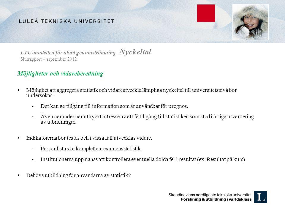 LTU-modellen för ökad genomströmning - Nyckeltal Slutrapport – september 2012 Möjligheter och vidareberedning • Möjlighet att aggregera statistik och vidareutveckla lämpliga nyckeltal till universitetsnivå bör undersökas.