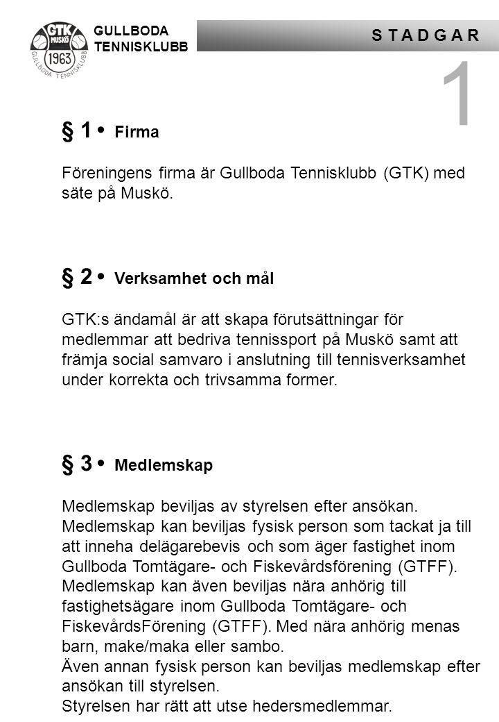 GULLBODA TENNISKLUBB S T A D G A R 1 § 1 • Firma Föreningens firma är Gullboda Tennisklubb (GTK) med säte på Muskö. § 2 • Verksamhet och mål GTK:s änd