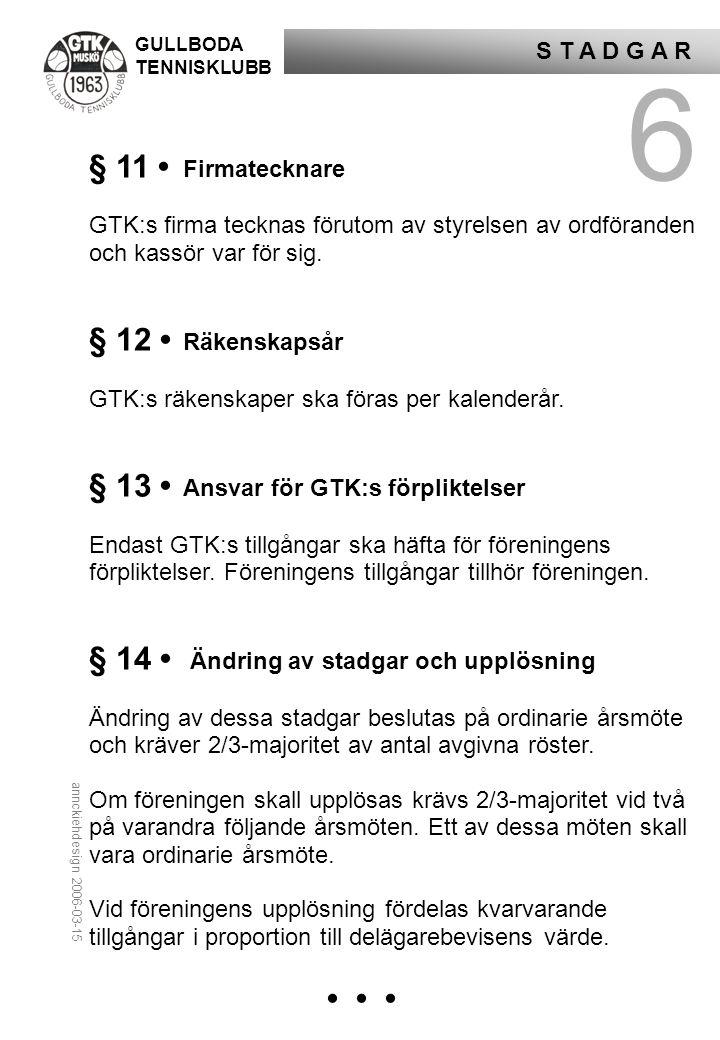 GULLBODA TENNISKLUBB S T A D G A R 6 § 11 • Firmatecknare GTK:s firma tecknas förutom av styrelsen av ordföranden och kassör var för sig.