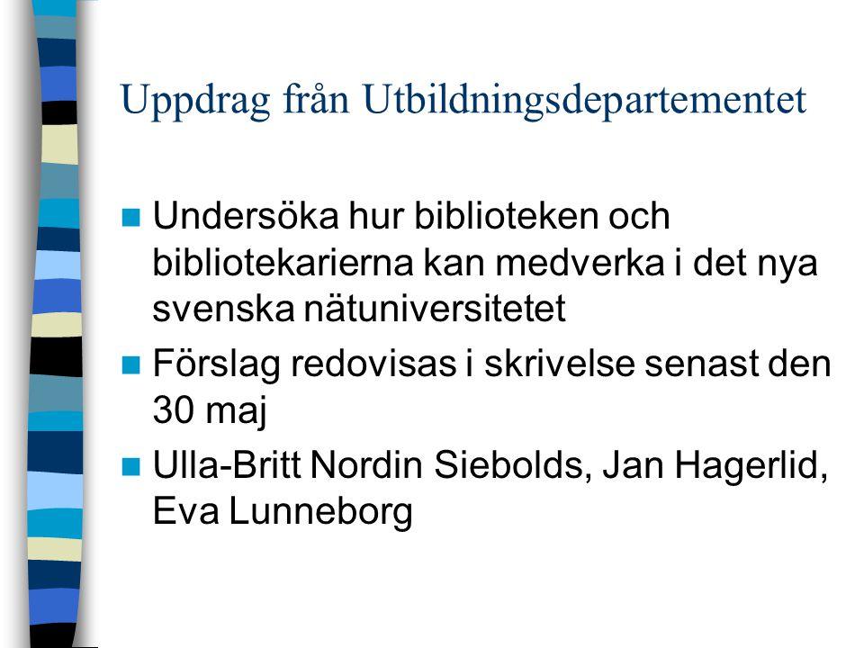 Uppdrag från Utbildningsdepartementet  Undersöka hur biblioteken och bibliotekarierna kan medverka i det nya svenska nätuniversitetet  Förslag redovisas i skrivelse senast den 30 maj  Ulla-Britt Nordin Siebolds, Jan Hagerlid, Eva Lunneborg