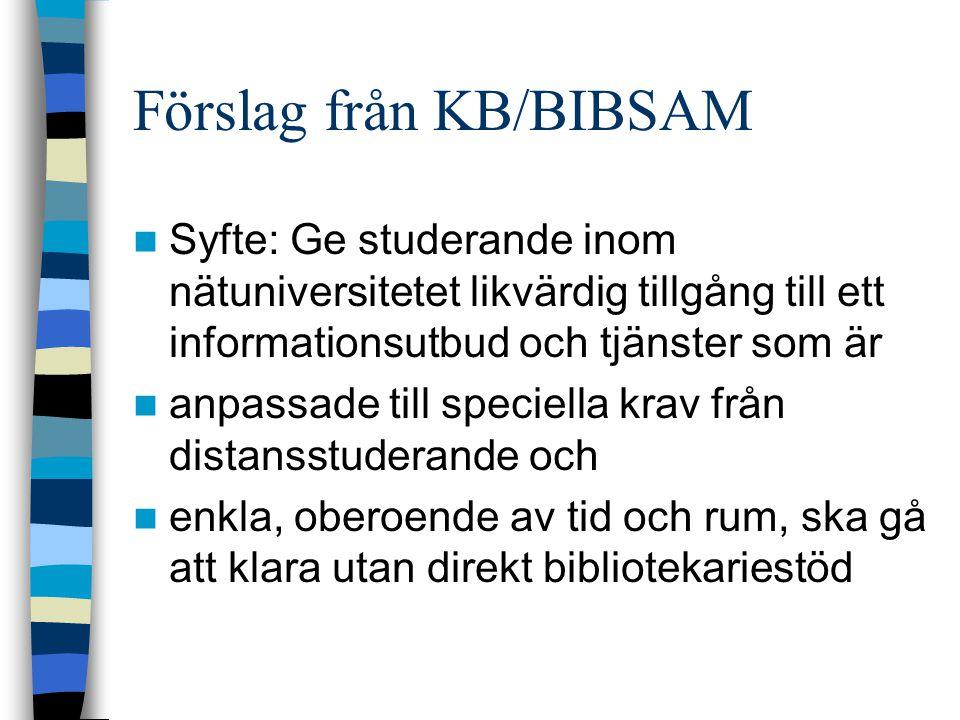 Förslag från KB/BIBSAM  Syfte: Ge studerande inom nätuniversitetet likvärdig tillgång till ett informationsutbud och tjänster som är  anpassade till speciella krav från distansstuderande och  enkla, oberoende av tid och rum, ska gå att klara utan direkt bibliotekariestöd