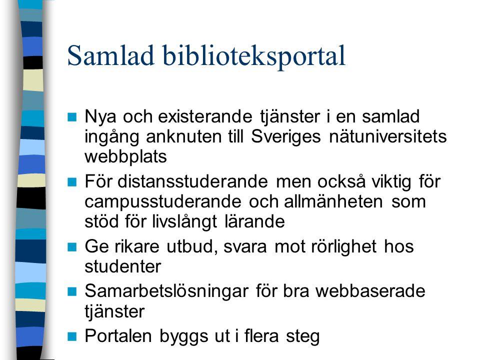 Samlad biblioteksportal  Nya och existerande tjänster i en samlad ingång anknuten till Sveriges nätuniversitets webbplats  För distansstuderande men också viktig för campusstuderande och allmänheten som stöd för livslångt lärande  Ge rikare utbud, svara mot rörlighet hos studenter  Samarbetslösningar för bra webbaserade tjänster  Portalen byggs ut i flera steg