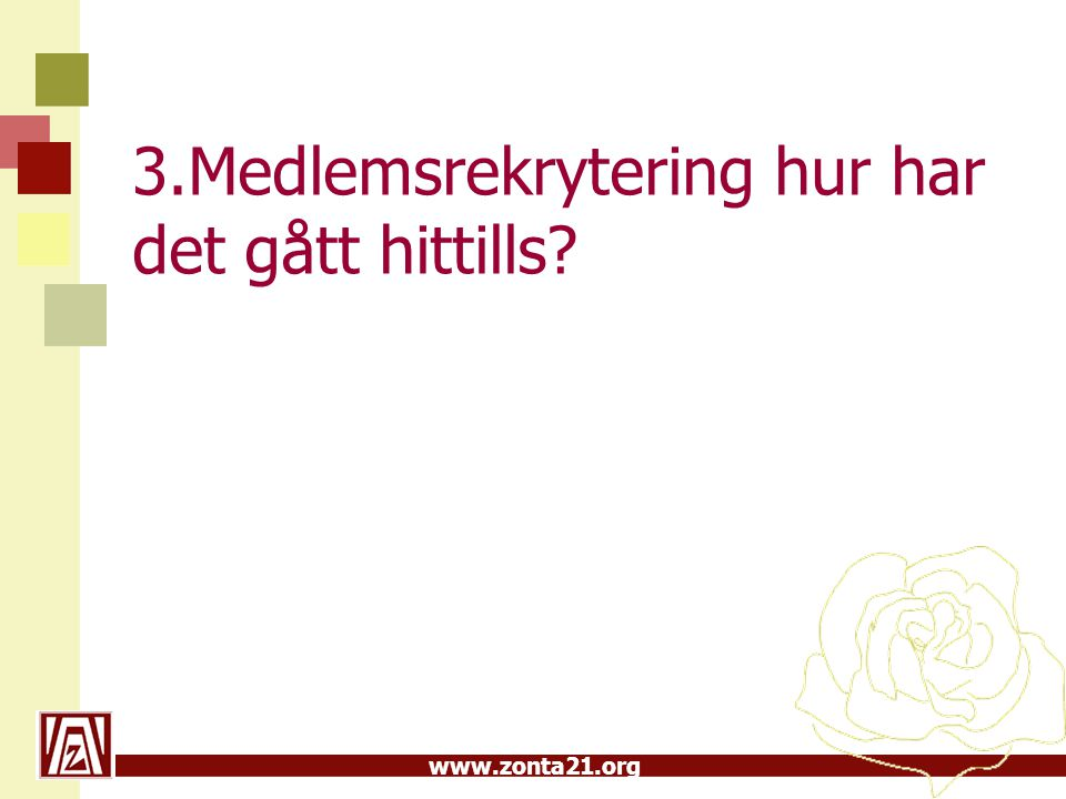 www.zonta21.org 3.Medlemsrekrytering hur har det gått hittills?