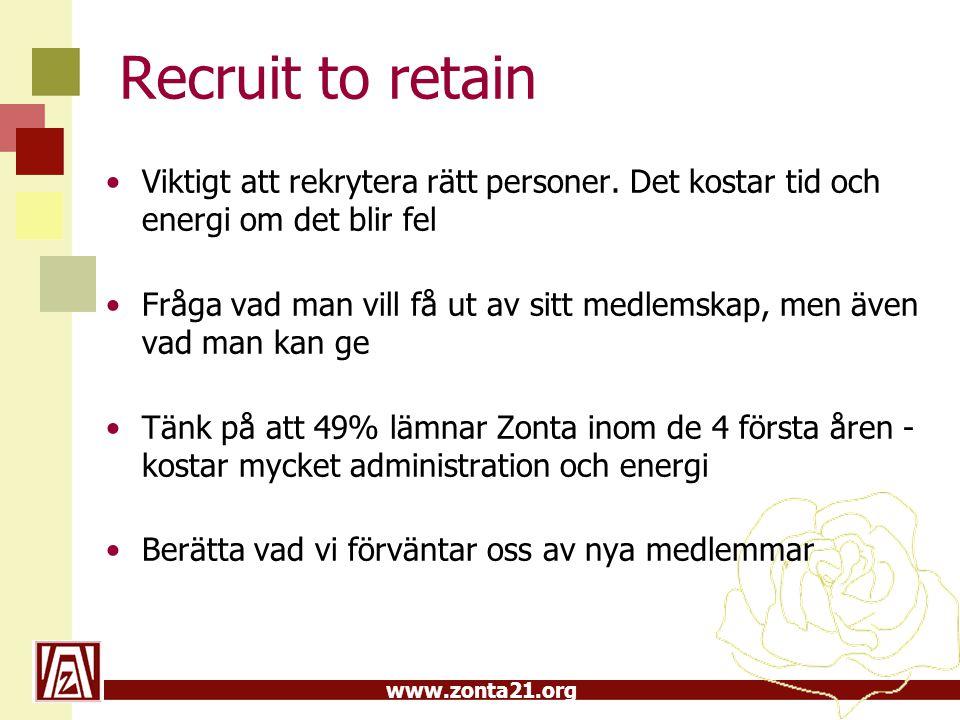 www.zonta21.org Recruit to retain •Viktigt att rekrytera rätt personer.
