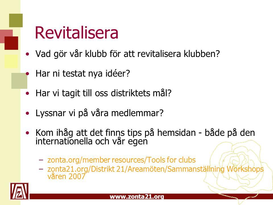 www.zonta21.org Revitalisera •Vad gör vår klubb för att revitalisera klubben.