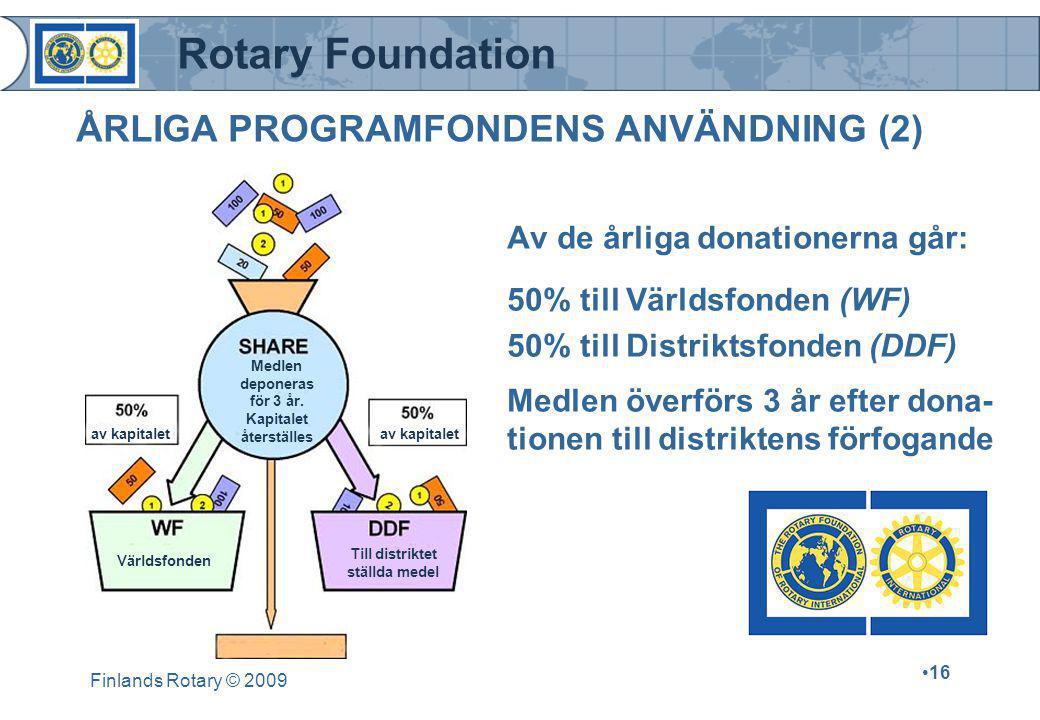 Rotary Foundation Finlands Rotary © 2009 •16 Av de årliga donationerna går: 50% till Världsfonden (WF) 50% till Distriktsfonden (DDF) Medlen överförs 3 år efter dona- tionen till distriktens förfogande ÅRLIGA PROGRAMFONDENS ANVÄNDNING (2) av kapitalet Medlen deponeras för 3 år.