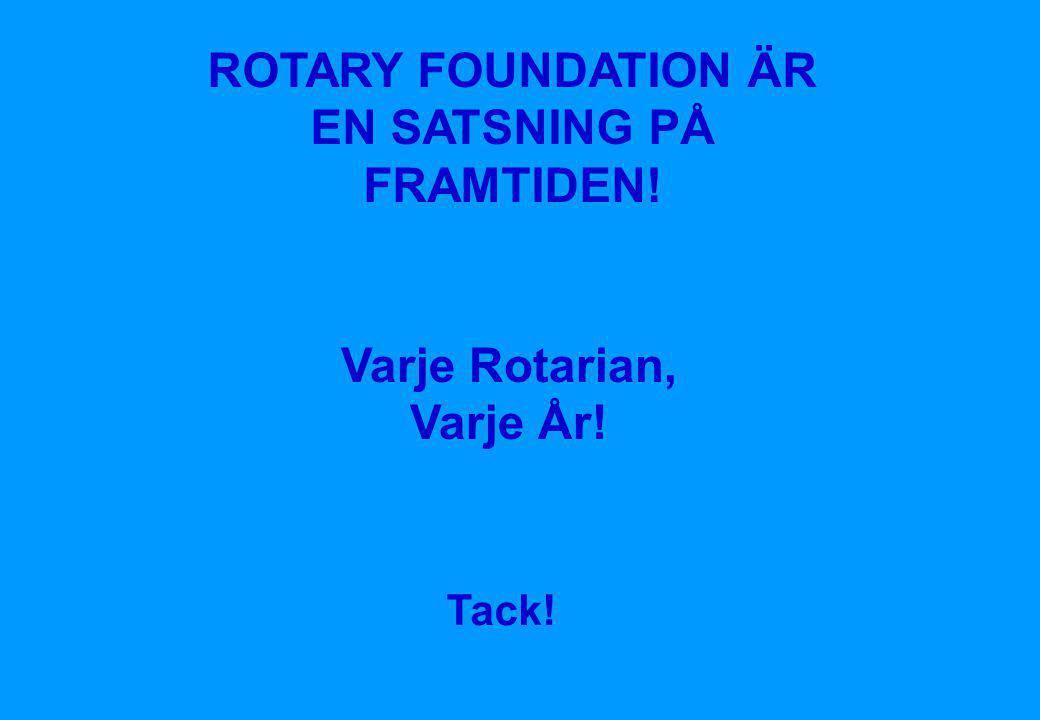 Rotary Foundation Suomen Rotary © 2008 •22 ROTARY FOUNDATION ÄR EN SATSNING PÅ FRAMTIDEN! Varje Rotarian, Varje År! Tack!