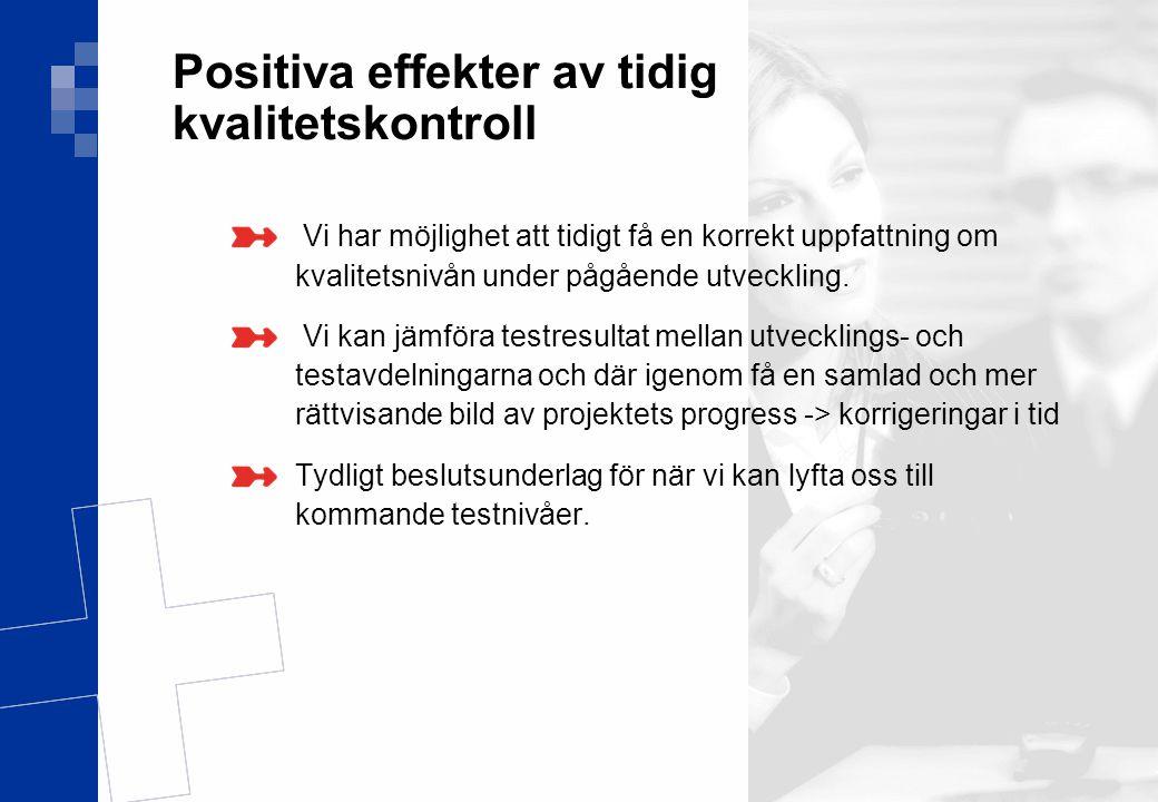 Ver 1.0 20(17) Positiva effekter av tidig kvalitetskontroll Vi har möjlighet att tidigt få en korrekt uppfattning om kvalitetsnivån under pågående utv