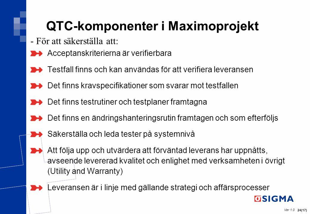 Ver 1.0 24(17) QTC-komponenter i Maximoprojekt Acceptanskriterierna är verifierbara Testfall finns och kan användas för att verifiera leveransen Det f