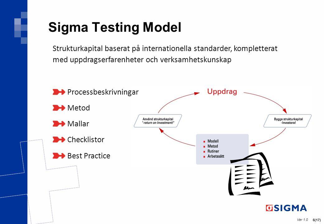 Ver 1.0 7(17) Processförbättring inom test Målgrupp -Organisationer som behöver förändra och förbättra sina befintliga arbetssätt -Organisationer som saknar definierade processer Definiera affärsnyttan – Hitta rätt kvalitetsnivå Tänkbart resultat -En gemensam syn på test – testpolicy -En gemensam syn på vad som är viktigt i din organisation avseende test – teststrategi -En dokumenterad och driftsatt process -Enkel och effektiv administration – mallar och verktyg -Verktyg för att styra rätt när det uppstår problem – mätverktyg