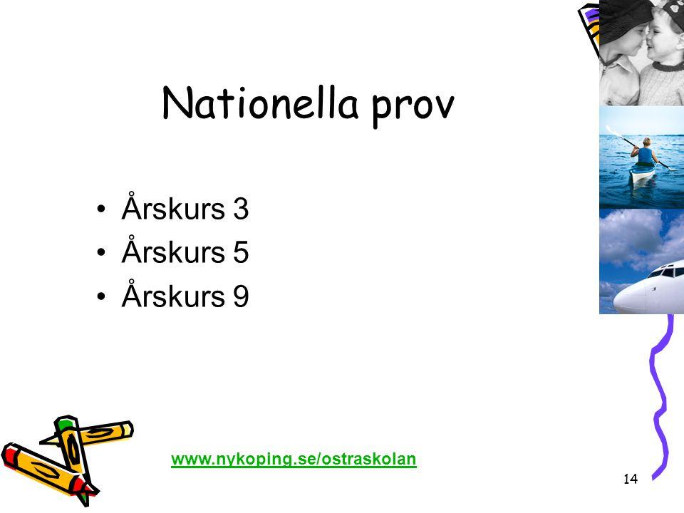 14 Nationella prov •Årskurs 3 •Årskurs 5 •Årskurs 9 www.nykoping.se/ostraskolan