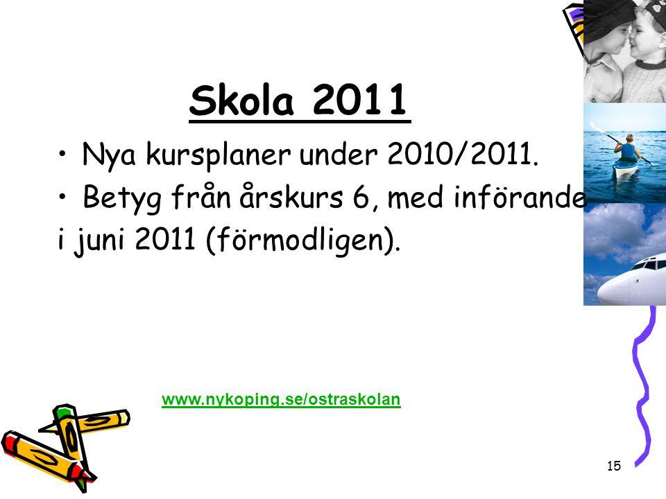 15 Skola 2011 •Nya kursplaner under 2010/2011. •Betyg från årskurs 6, med införande i juni 2011 (förmodligen). www.nykoping.se/ostraskolan