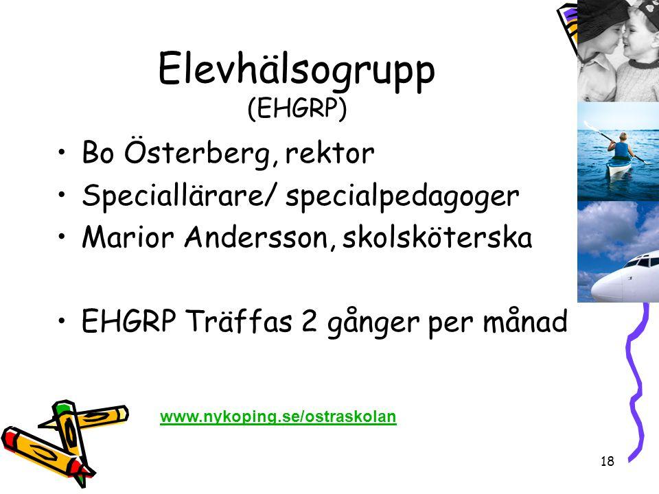 18 Elevhälsogrupp (EHGRP) •Bo Österberg, rektor •Speciallärare/ specialpedagoger •Marior Andersson, skolsköterska •EHGRP Träffas 2 gånger per månad ww