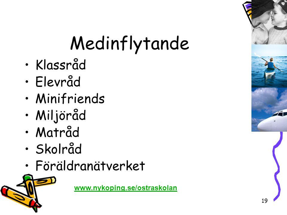 19 Medinflytande •Klassråd •Elevråd •Minifriends •Miljöråd •Matråd •Skolråd •Föräldranätverket www.nykoping.se/ostraskolan