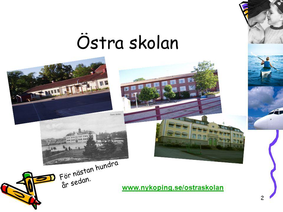 3 Division Barn, Utbildning och Kultur Östra området och Västra området Östra skolan ingår i Östra området
