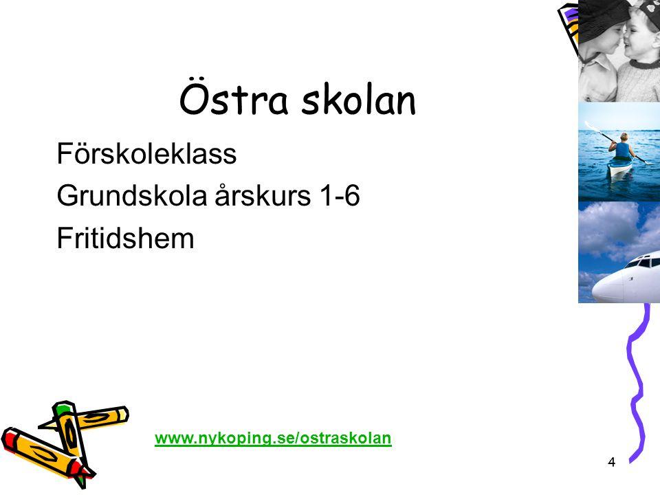 4 Östra skolan Förskoleklass Grundskola årskurs 1-6 Fritidshem www.nykoping.se/ostraskolan