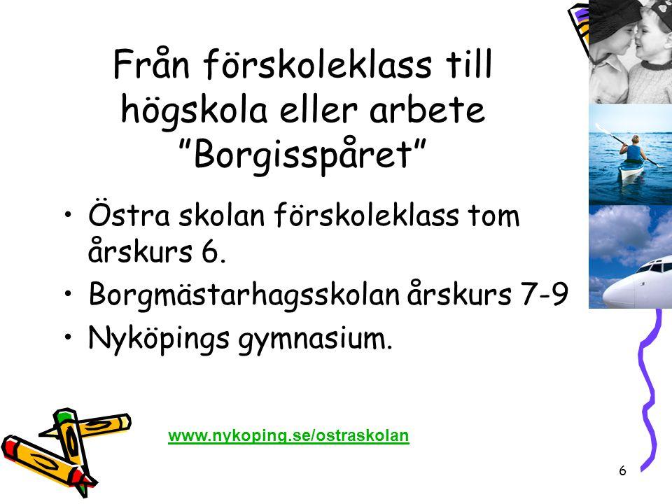 """6 Från förskoleklass till högskola eller arbete """"Borgisspåret"""" •Östra skolan förskoleklass tom årskurs 6. •Borgmästarhagsskolan årskurs 7-9 •Nyköpings"""