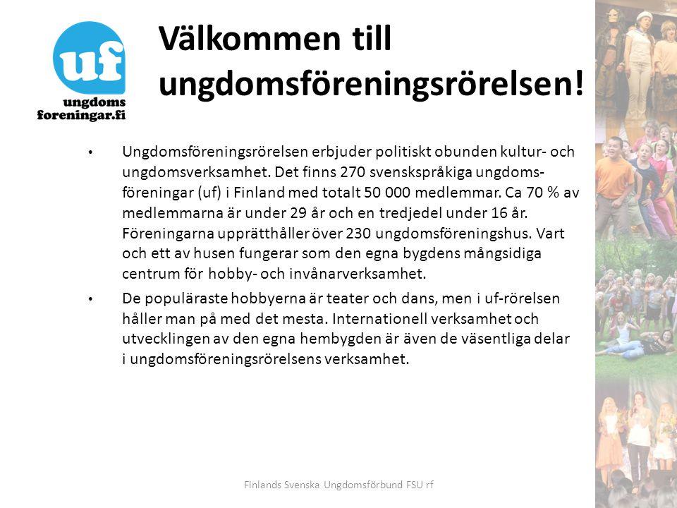 Välkommen till ungdomsföreningsrörelsen! • Ungdomsföreningsrörelsen erbjuder politiskt obunden kultur- och ungdomsverksamhet. Det finns 270 svensksprå