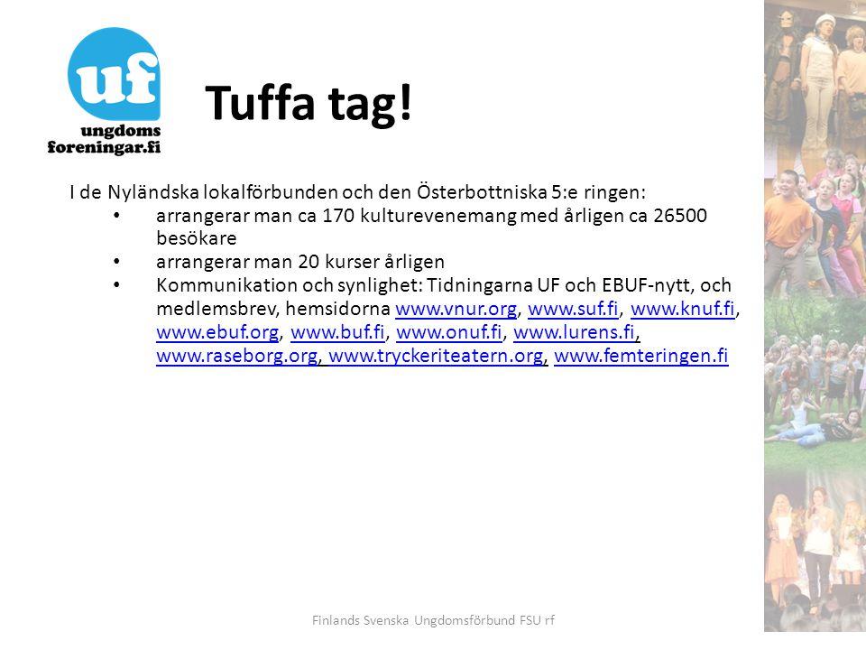 Tuffa tag! Finlands Svenska Ungdomsförbund FSU rf I de Nyländska lokalförbunden och den Österbottniska 5:e ringen: • arrangerar man ca 170 kulturevene