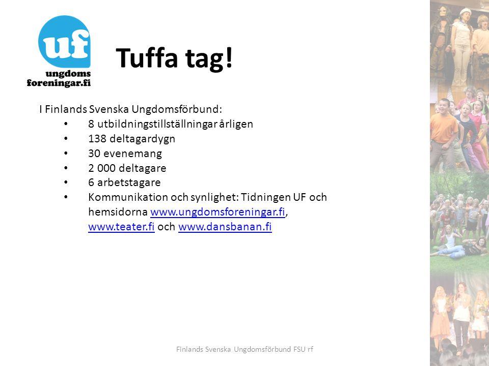 Tuffa tag! Finlands Svenska Ungdomsförbund FSU rf I Finlands Svenska Ungdomsförbund: • 8 utbildningstillställningar årligen • 138 deltagardygn • 30 ev