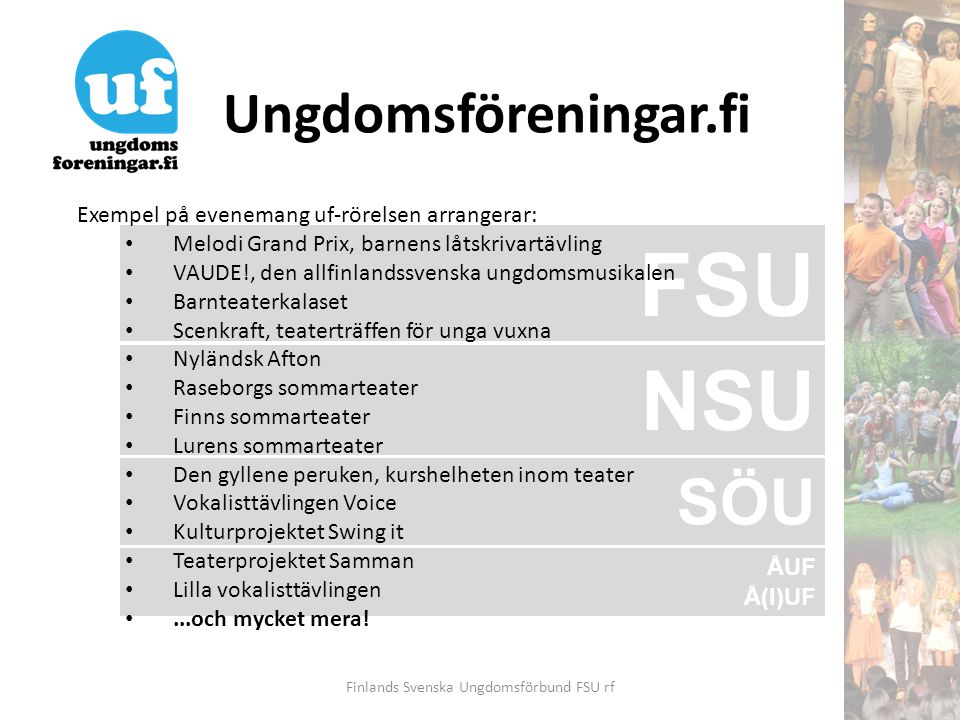 Ungdomsföreningar.fi Finlands Svenska Ungdomsförbund FSU rf Nylandsgatan 17 B 27 00120 Helsingfors Tfn 09-7515 5100 Fax 09-648 230 E-post fsu@fsu.fi, teater@fsu.fifsu@fsu.fiteater@fsu.fi Hemsida www.ungdomsföreningar.fiwww.ungdomsföreningar.fi