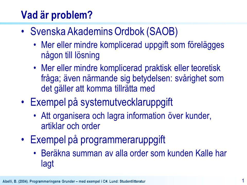 Abelli, B. (2004). Programmeringens Grunder – med exempel i C#. Lund: Studentlitteratur 11 Vad är problem? •Svenska Akademins Ordbok (SAOB) •Mer eller