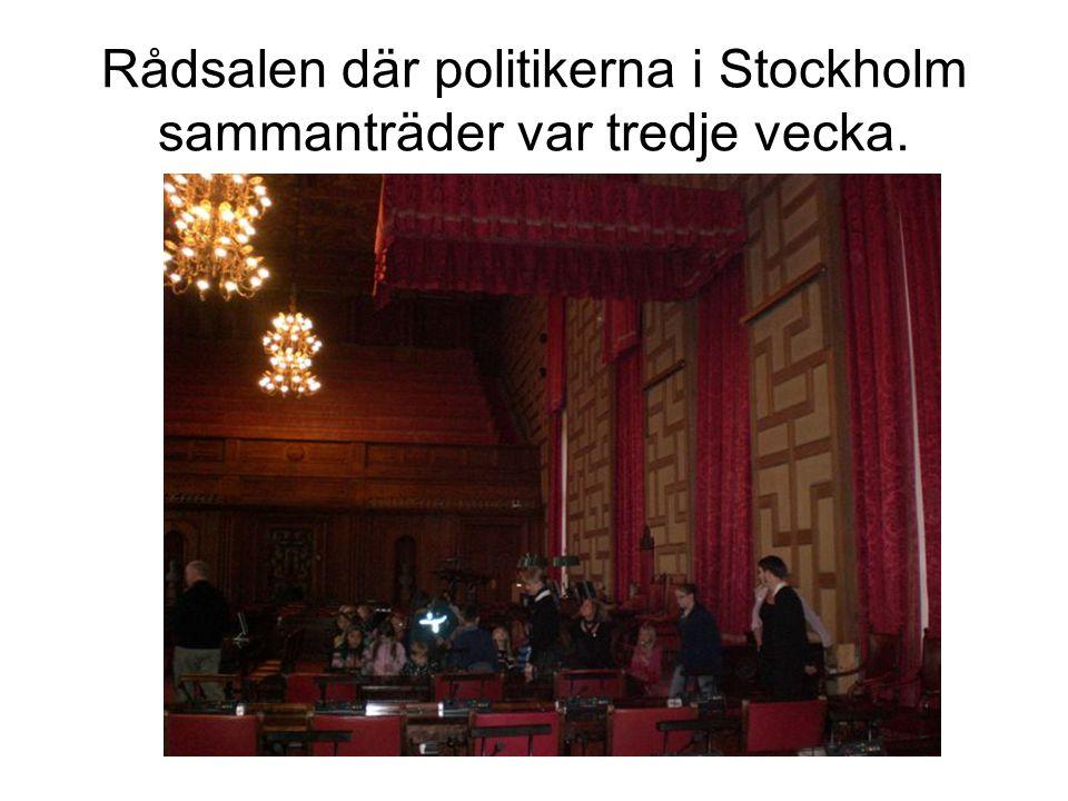 Rådsalen där politikerna i Stockholm sammanträder var tredje vecka.