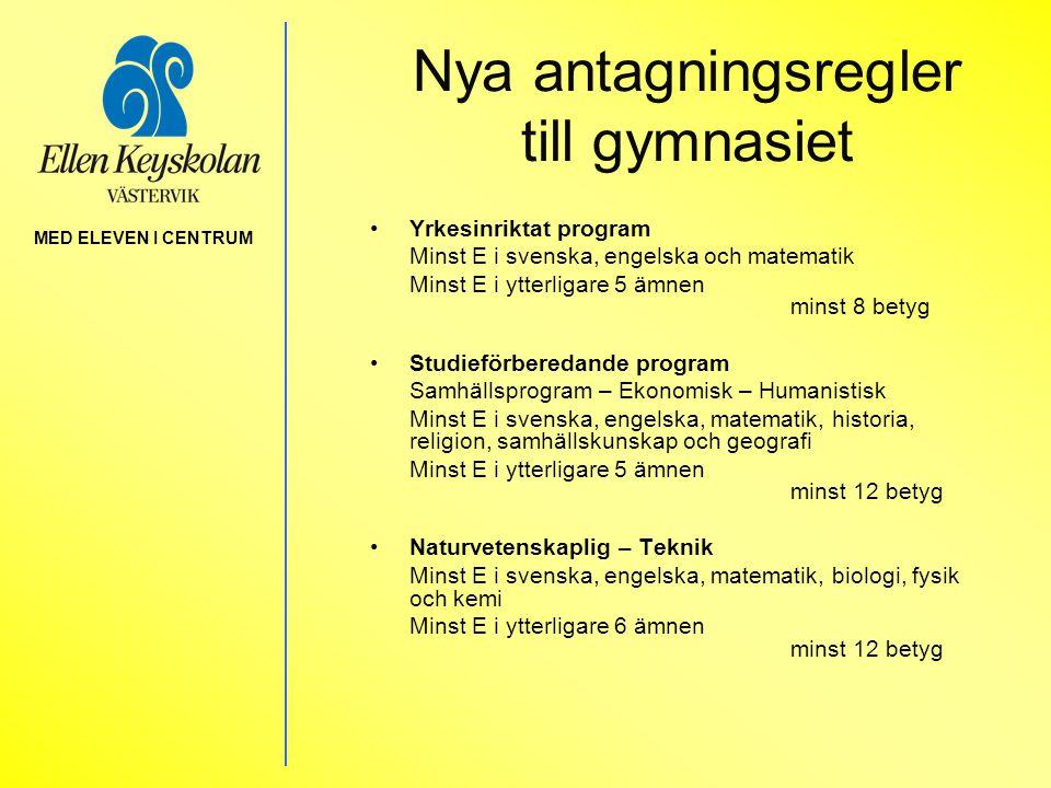 Nya antagningsregler till gymnasiet •Yrkesinriktat program Minst E i svenska, engelska och matematik Minst E i ytterligare 5 ämnen minst 8 betyg •Stud