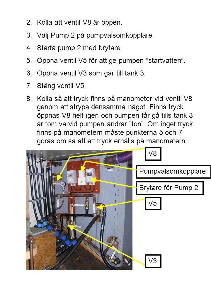 2.Kolla att ventil V8 är öppen.3.Välj Pump 2 på pumpvalsomkopplare.