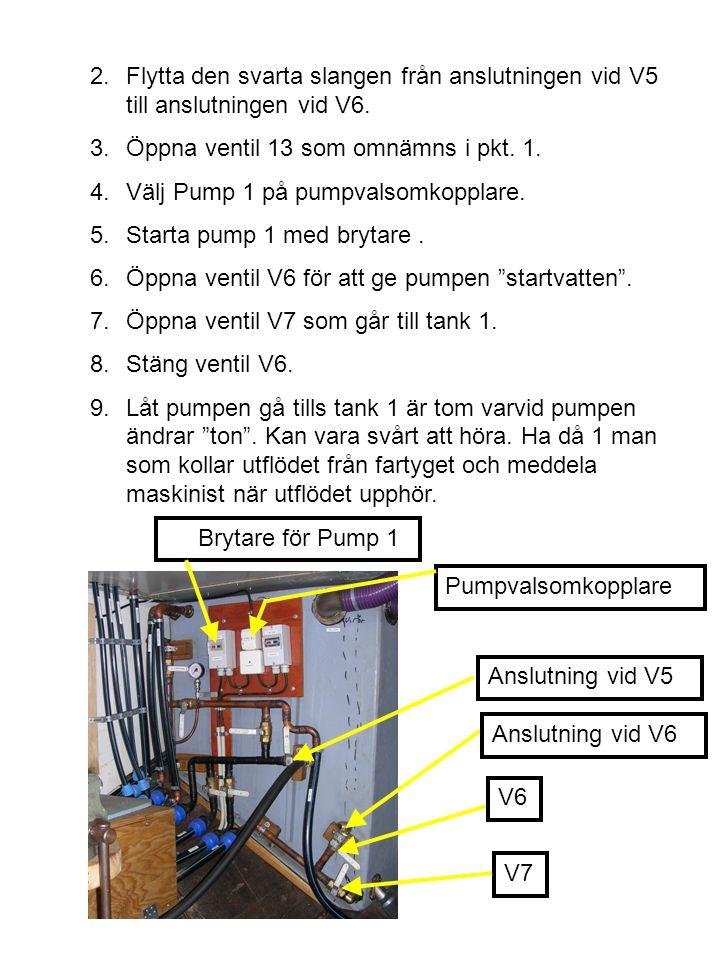 2.Flytta den svarta slangen från anslutningen vid V5 till anslutningen vid V6. 3.Öppna ventil 13 som omnämns i pkt. 1. 4.Välj Pump 1 på pumpvalsomkopp