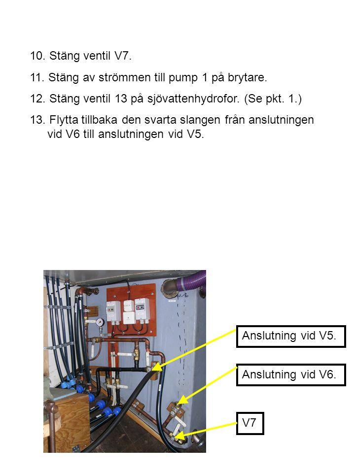10. Stäng ventil V7. 11. Stäng av strömmen till pump 1 på brytare. 12. Stäng ventil 13 på sjövattenhydrofor. (Se pkt. 1.) 13. Flytta tillbaka den svar