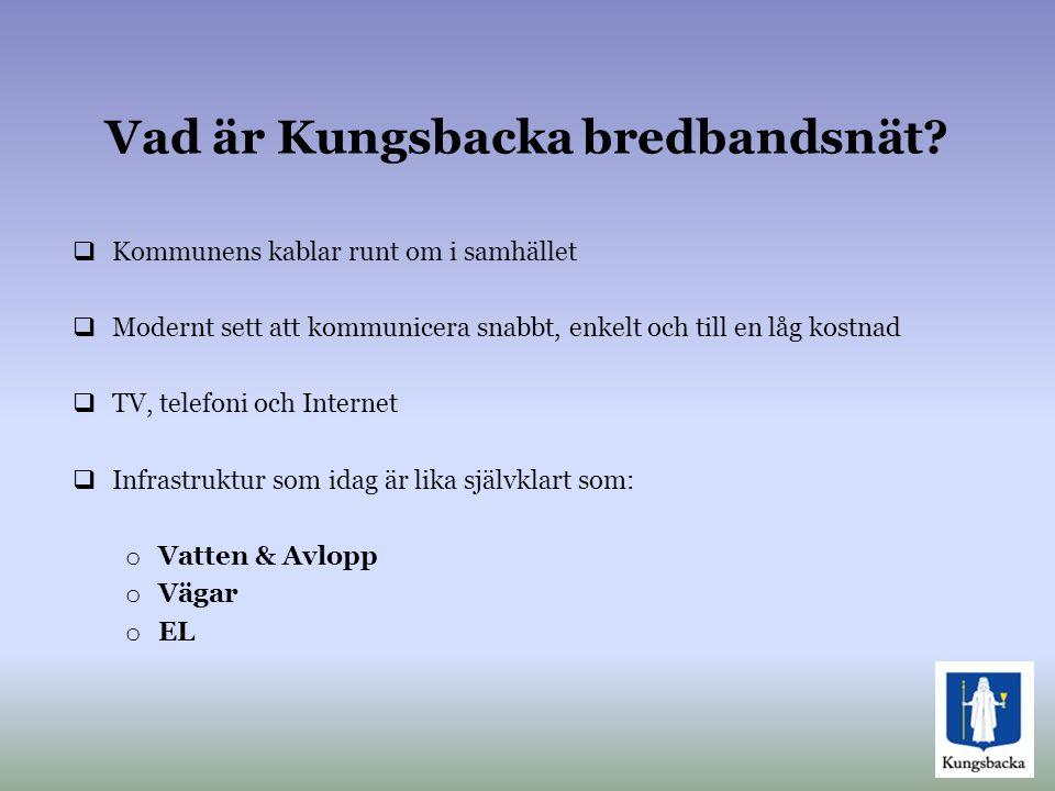 Vad är Kungsbacka bredbandsnät?  Kommunens kablar runt om i samhället  Modernt sett att kommunicera snabbt, enkelt och till en låg kostnad  TV, tel