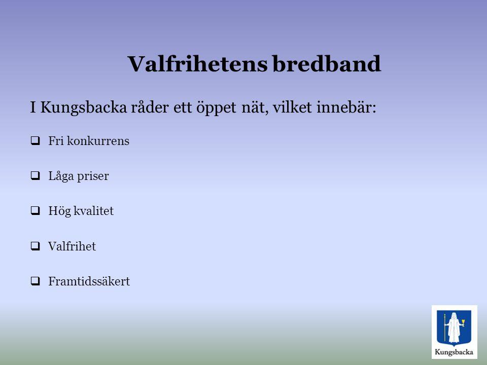 Valfrihetens bredband  Fri konkurrens  Låga priser  Hög kvalitet  Valfrihet  Framtidssäkert I Kungsbacka råder ett öppet nät, vilket innebär: