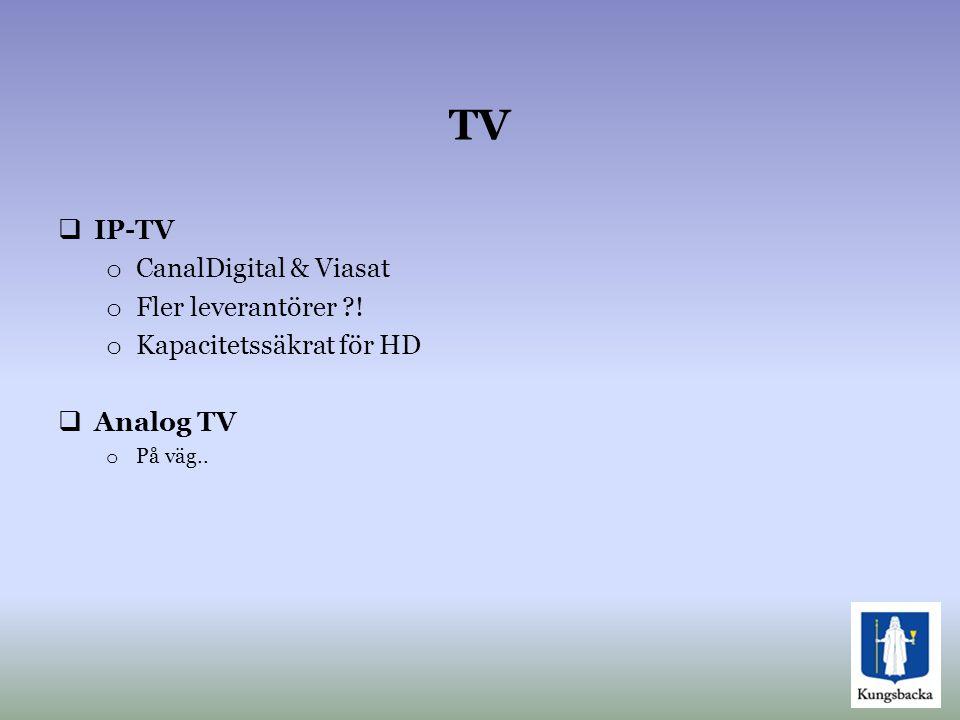 TV  IP-TV o CanalDigital & Viasat o Fler leverantörer ?! o Kapacitetssäkrat för HD  Analog TV o På väg..