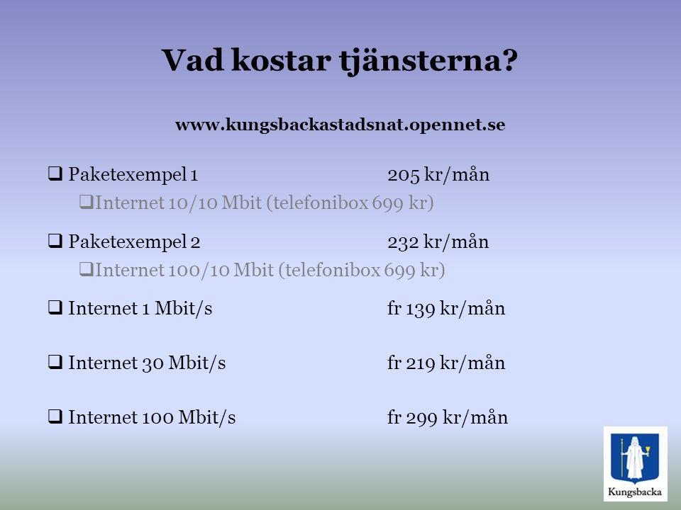 Vad kostar tjänsterna? www.kungsbackastadsnat.opennet.se  Paketexempel 1205 kr/mån  Internet 10/10 Mbit (telefonibox 699 kr)  Paketexempel 2232 kr/