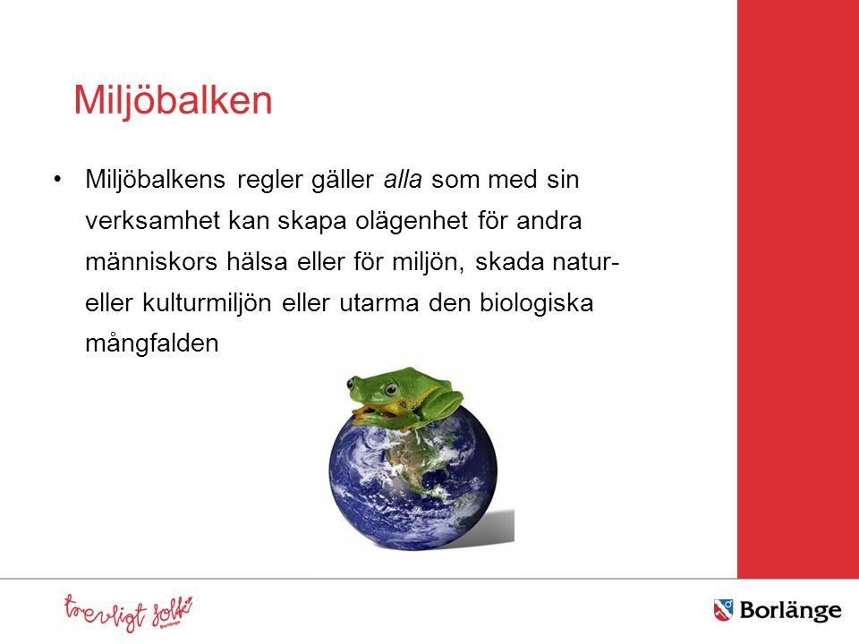 Miljöbalkens mål Vi och kommande generationer ska ha en hälsosam och god miljö Naturen har ett eget skyddsvärde Vi har ett förvaltaransvar Främja håll