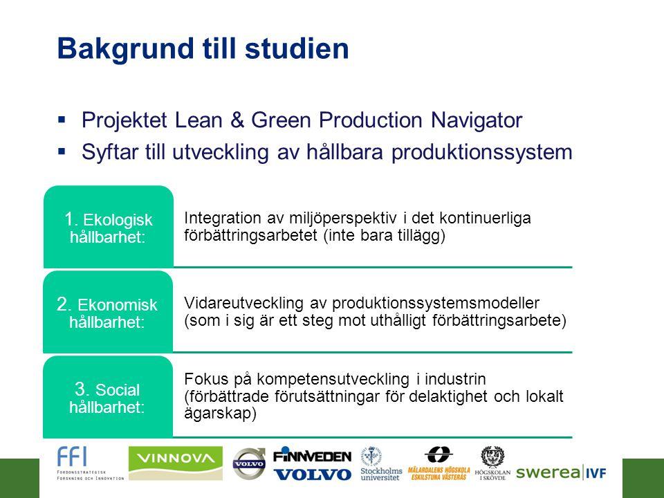 Bakgrund till studien  Projektet Lean & Green Production Navigator  Syftar till utveckling av hållbara produktionssystem 2014-06-263 Integration av miljöperspektiv i det kontinuerliga förbättringsarbetet (inte bara tillägg) 1.