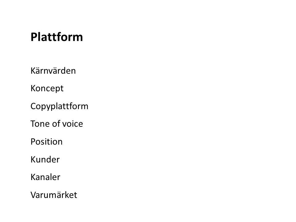 Plattform Kärnvärden Koncept Copyplattform Tone of voice Position Kunder Kanaler Varumärket